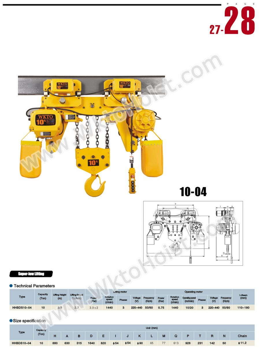 超低吊型环链电动葫芦10t